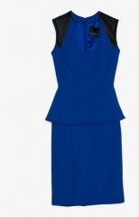 Yigal Azrouel Blue Peplum Dress at Intermix