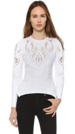 Yigal Azrouel Embroidered Peplum Shirt at Shopbop