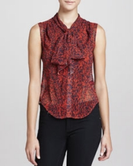 Z Spoke Zac Posen Printed Tie-Neck Blouse NavyRed at Neiman Marcus