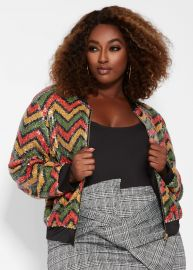 ZIG ZAG SEQUIN BOMBER JACKET at Ashley Stewart