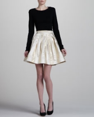 Zac Posen Metallic A-Line Skirt Gold at Neiman Marcus