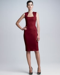 Zac Posen Square-Neck Bonded Jersey Dress at Neiman Marcus