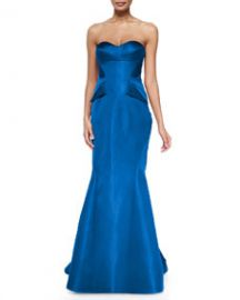Zac Posen Strapless Split-Peplum Back-Pleat Gown Cobalt at Neiman Marcus