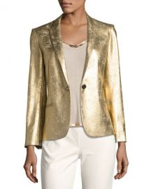 Zadig  amp  Voltaire Vedy Deluxe Gold-Colored Fitted Blazer at Neiman Marcus