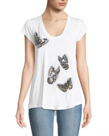 Zadig  amp  Voltaire Tiny Cannet Butterfly Graphic Short-Sleeve Tee at Neiman Marcus