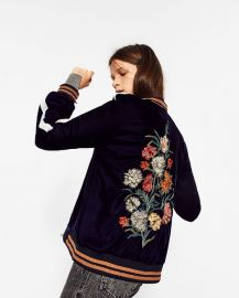 Zara Floral Embroidered Bomber Jacket at Zara