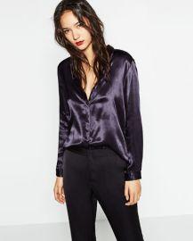 Zara Sateen Blouse with Back Detail at Zara