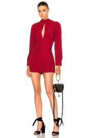 Zimmermann Collared Tuck Playsuit in Ruby at Forward