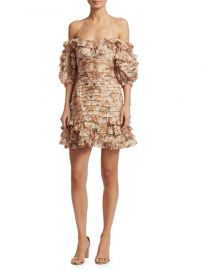 Zimmermann Painted Heart Folds Ruffle Dress at Saks Fifth Avenue