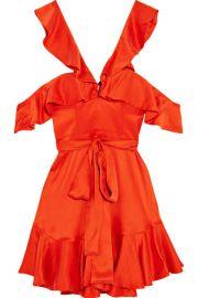 Zimmermann   Cold-shoulder ruffled silk-satin mini dress at Net A Porter