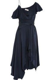 Zimmermann   One-shoulder ruffled silk wrap midi dress at Net A Porter