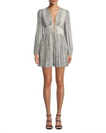 Zimmermann Corsage Snake-Print Long-Sleeve Fluted Romper at Neiman Marcus