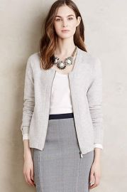 Zip-Front Cashmere Cardigan in Grey at Anthropologie