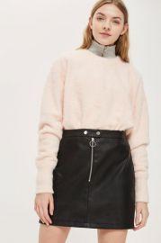 Zip PU Mini Skirt at Topshop