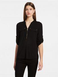 Zip Roll-up 3/4 Sleeve Top by Calvin Klein at Calvin Klein