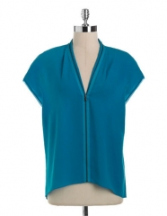 Zip front blouse by T Tahari at Lord & Taylor