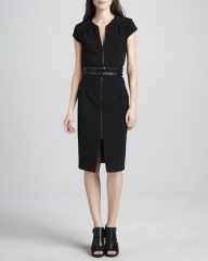 Zip front crepe dress by LAgence at Bergdorf Goodman