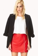 Zip front leather skirt at Forever 21