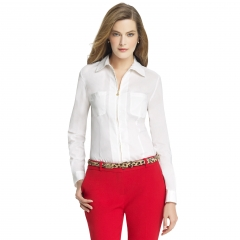 Zip front shirt at Anne Klein