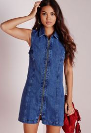 Zipped Denim Dress at Missguided