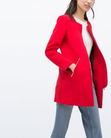 Zipped Round Neck Coat at Zara