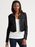 Zoe Hart's black biker jacket at Saks Fifth Avenue