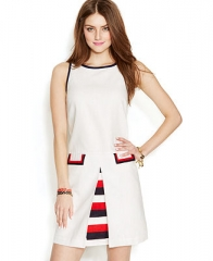 Zooey Deschanel for Tommy Hilfiger Inverted-Pleat Shift Dress - Dresses - Women - Macys at Macys
