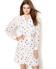 Zooey Deschanel for Tommy Hilfiger Polka-Dot Printed Shirtdress - Dresses - Women - Macys at Macys