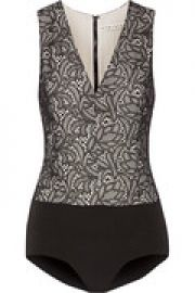 Zooey lace and stretch-jersey bodysuit at The Outnet
