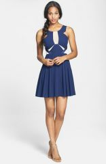 a drea Mesh Inset Fit andamp Flare Dress at Nordstrom