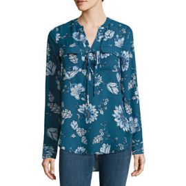 a.n.a. Lace Up Blouse in Legion Blue Floral at JC Penney