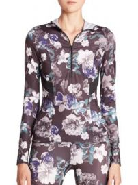 adidas by Stella McCartney - Adizero Hooded Floral-Print Top at Saks Fifth Avenue