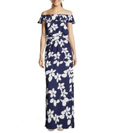 adrianna papell Petite Simple Delight Off-The-Shoulder Printed Maxi Dress at Dillards
