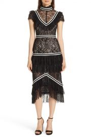 alice   olivia   Annetta Tiered Lace Midi Dress   Nordstrom Rack at Nordstrom Rack
