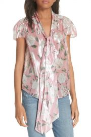 alice   olivia   Jeannie Bow Collar Silk Blend Top   Nordstrom Rack at Nordstrom Rack