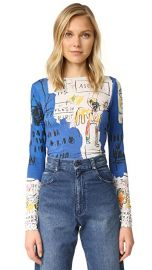 alice   olivia AO X Basquiat Long Sleeve Crop Top at Shopbop