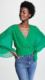 alice   olivia Bray Pleat Sleeve Wrap Top at Shopbop