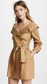 alice   olivia Candace Off Shoulder Trench Coat at Shopbop
