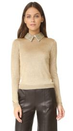 alice   olivia Dia Collared Metallic Sweater at Shopbop