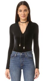alice   olivia Lacy Velvet Bodysuit at Shopbop