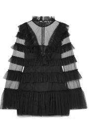 alice McCALL - The Zen tiered Swiss-dot tulle mini dress at Net A Porter