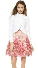 alice and olivia Bow Neck Jacket in White at Shopbop