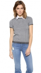 alice and olivia Houndstooth Top with Collar at Shopbop