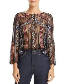 alice and olivia Larue Sheer Lace-Inset Top at Bloomingdales