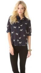 alice and olivia Willa Placket Top at Shopbop