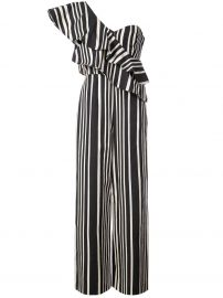 alice and olivia striped one shoulder jumpsuit at Farfetch