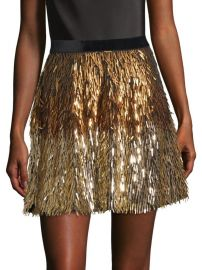 alice olivia Cina Embellished Glitter Tassel Mini Skirt at Saks Fifth Avenue