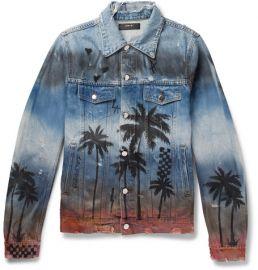 amiri Slim-Fit Distressed Printed Denim Jacket at Mr Porter