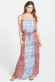 and039Moroccan Paisleyand039 Drawstring Waist Maxi Dress Regular andamp Petite at Nordstrom Rack