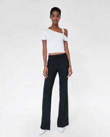 asymmetrical ribbed top at Zara